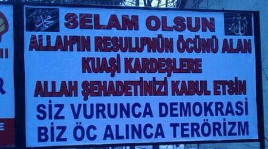 Le panneau turque de soutien aux frères Kouachi. <i>Source: Journal Hürriyet, 11 janvier 2015</i>