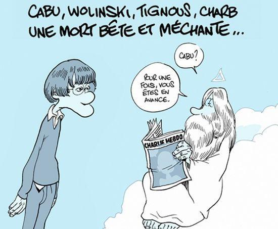 Cabu, caricaturé par Zep.