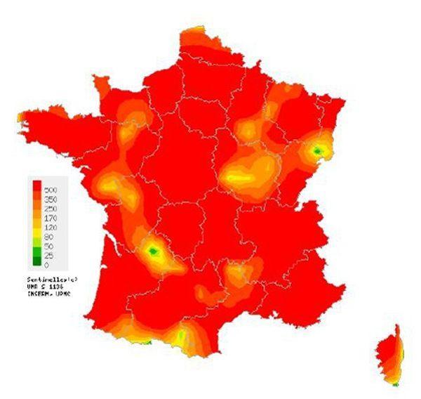 Cartographie de la grippe saisonnière 2014/2015