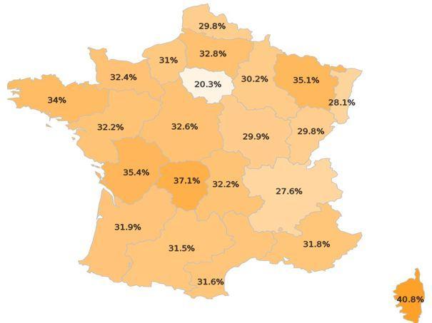 La carte de sédentarité des Français.