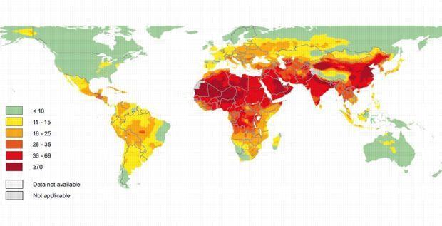 En blanc, les pays où les données n'étaient pas connues. En gris, les pays où elles n'étaient pas applicables. Source: OMS