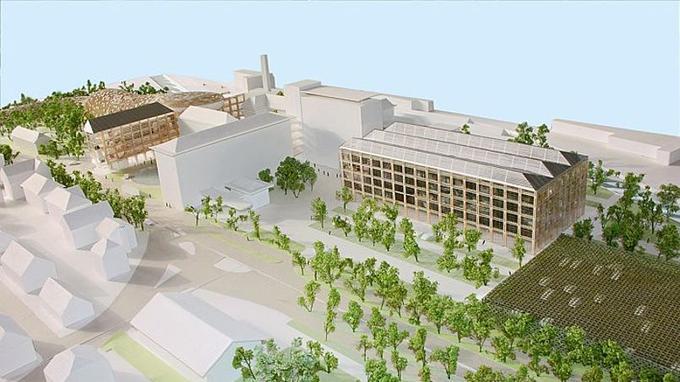 Dessin de la future unité de production d'Omega,à Bienne, conçue par l'architecte japonais Shigeru Ban.