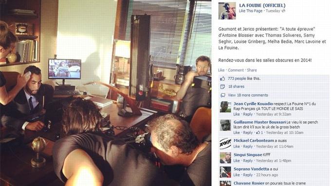 Capture d'écran de la page Facebook officielle de la Fouine.