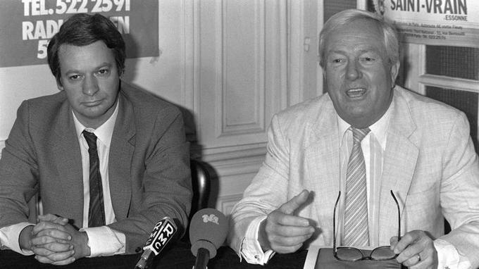 Jean-Pierre Stirbois et Jean-Marie Le Pen en 1983.