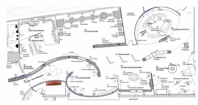 Le plan de l'espace découverte de la Cité du Chocolat.