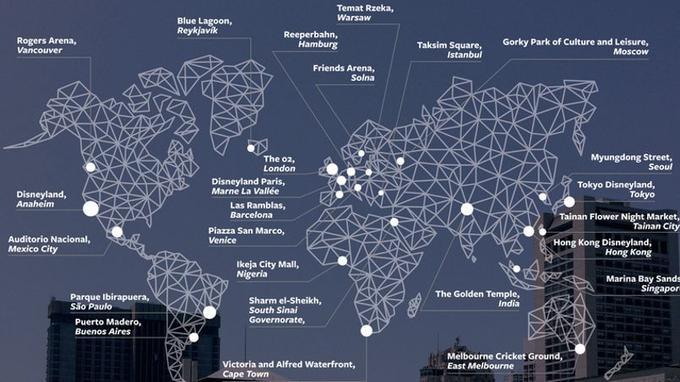 Localisation les plus fréquentes sur Facebook dans le monde