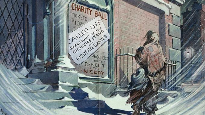 «Bal de bienfaisance pour les miséreux» - «Annulé en raison de la position de l'Église sur les danses modernes.