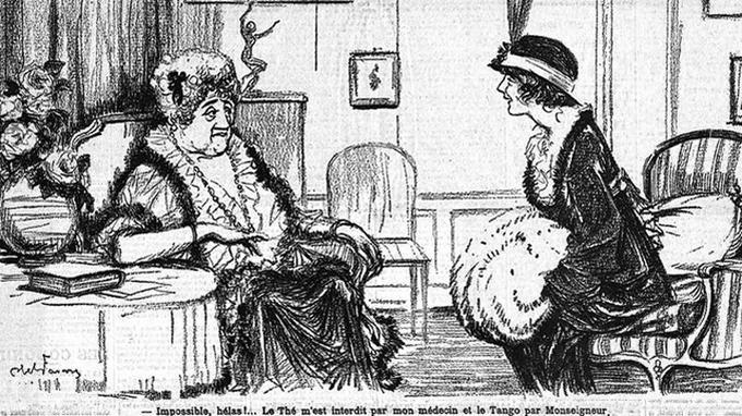 «L'invitation au thé-tango», dessin d'Abel Faivre pour <i>Le Figaro</i>.