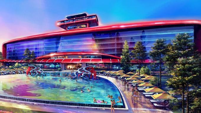 Côté jardin, l'hôtel 5 étoiles bénéficiera d'une piscine géante.