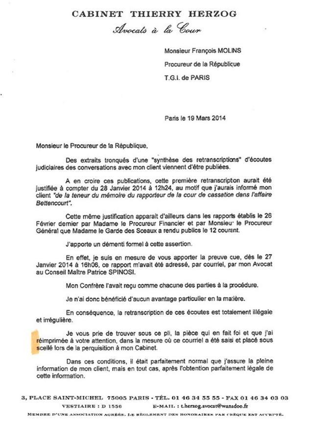 Copie du récépissé du courriel de Patrice Spinosi adressé à Thierry Herzog.