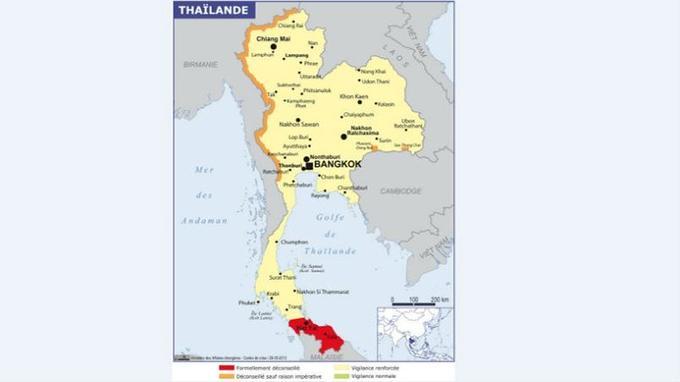 En rouge, les zones formellement déconseillées. En orange, les régions déconseillées sauf raison impérative. En jaune, vigilance renforcée. En vert, vigilance normale. Crédits carte: Ministère des Affaires étrangères.