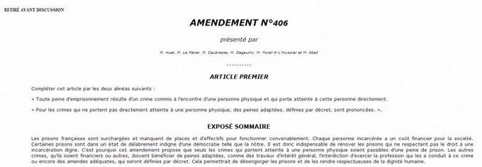 L'amendement 406 à la Réforme Pénale a finalement été retiré mercredi en fin de matinée.