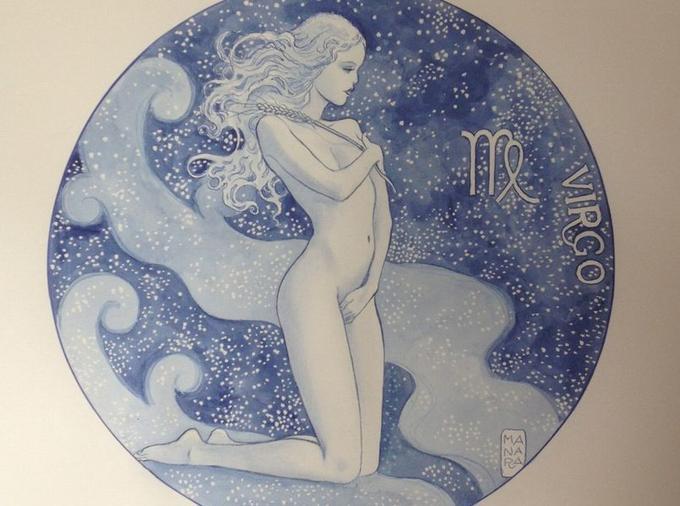 Zodiaque, La Vierge, aquarelle sur papier/ Manara Glénat