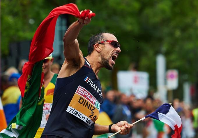 Yohan Diniz célèbre sa victoire lors du 50 marche, le 15 août à Zurich.