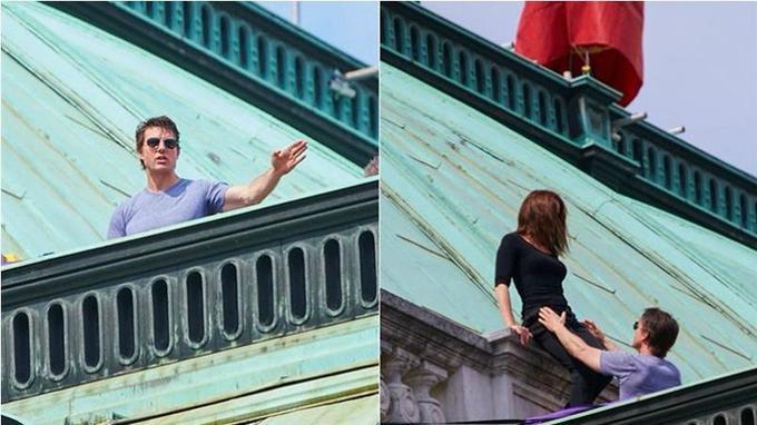 Tom Cruise et Rebecca Ferguson sur le toit de l'Opéra de Vienne pour le tournage de <i>Mission: Impossible 5</i>.