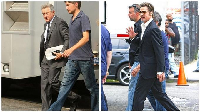 Robert de Niro et Brad Pitt lors du tournage.
