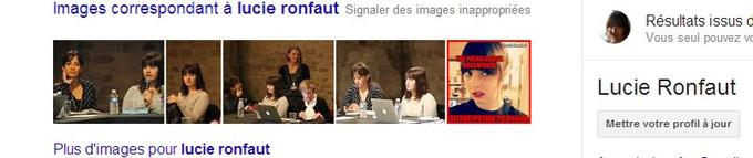 Le site fait partie des premiers résultats de recherche lorsque l'on tape «Lucie Ronfaut» dans Google (en bas à droite)