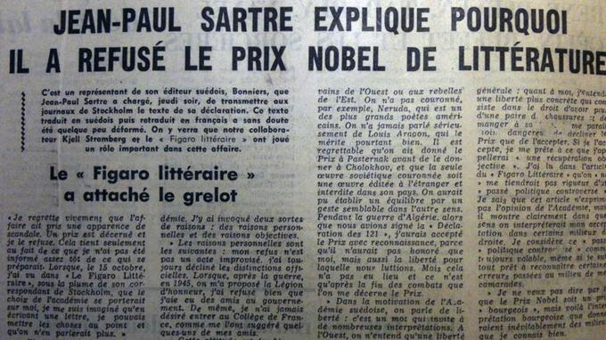 Le texte de Jean-Paul Sartre publié en dernière page du Figaro, le 24 octobre 1964.