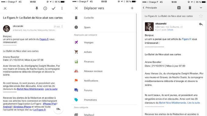 Un même message dans Inbox (à gauche), avec la corbeille dans le menu déroulant, et dans Gmail (à droite).