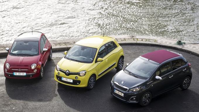 Fiat 500, Renault Twingo 3 et Peugeot 108: trois façons d'envisager la voiture de ville.