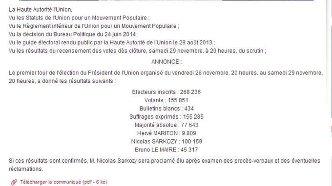 Capture d'écran des résultats proclamés samedi soir par la haute autorité de l'UMP