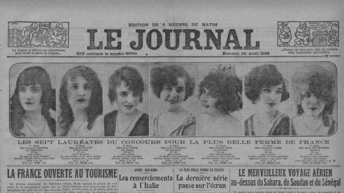 Les sept finalistes du concours de la plus belle Femme de France en 1920 organisé par le quotidien <i>Le Journal</i>.