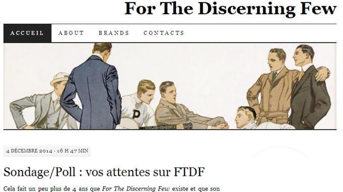 Capture d'écran de la page d'accueil (Crédit: For the discerning few)