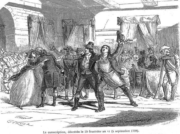 5 septembre 1798: la France invente le service militaire: la conscription est decretee, gravure