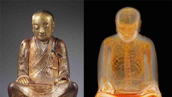 Un examen au scanner d'une statue chinoise exposée aux Pays-Bas a révélé des restes humains momifiés. Il pourrait s'agir du corps de Liuquan, un célèbre maître bouddhiste.