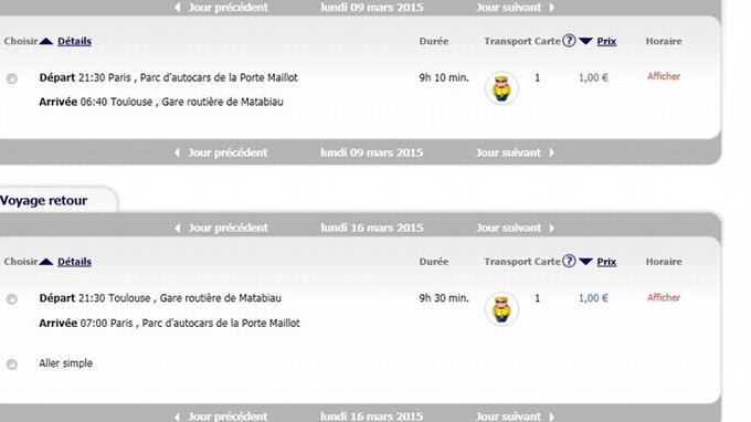Capture d'écran du site Internet de Megabus
