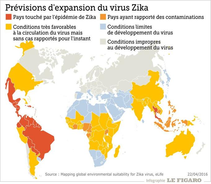 La carte mise au point sur la diffusion mondiale du virus Zika.