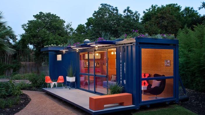 Guesthouse construída a partir de um contentor. (Crédito: Chris Cooper/ Poteet architects)'hôte construite à partir d'un conteneur. (Crédit: Chris Cooper/ Poteet architects)