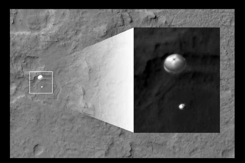 La sonde Mars Reconnaissance Orbiter (MRO), qui survolait la zone d'atterrissage de Curiosity lundi matin, a pris ce magnifique cliché de la sonde attachée à son parachute supersonique - conçu par une filiale du groupe français Zodiac. Le rover atterrira quelques minutes plus tard. À cet instant précis, il a déjà largué le bouclier thermique qui le protégeait pendant la première phase de rentrée atmosphérique et ne file plus qu'à 300 km/h (contre 1500 km/h environ au moment du déploiement de son parachute). Pour donner une idée de la prouesse réalisée par la caméro HiRISE de MRO, il faut avoir à l'esprit qu'elle se situe à 340 km de Curiosity, file à 7000 km/h et que la photo est prise de façon automatique. La rencontre entre les deux objets est nécessairement très brève.