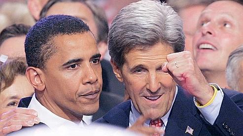 Barack Obama et John Kerry, lors de l'investiture de ce dernier, le 29 juillet 2004.