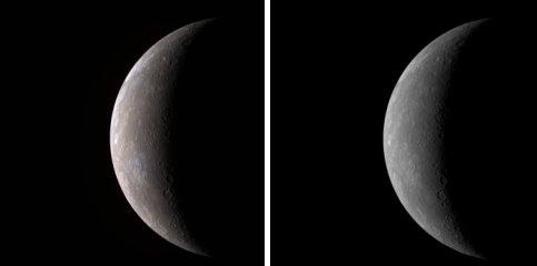 Pour mieux saisir cette coloration, voici une comparaison entre un cliché noir et blanc, prise avec un seul filtre, et une autre de la même région vue avec le dispositif du précédent cliché.