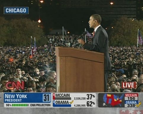 Le 4 novembre 2008, Barack Obama devient le premier président noir des États-Unis. <br />&nbsp;&raquo;Le changement arrive en Amérique&nbsp;&raquo;, lance-t-il face aux milliers de personnes rassemblées à Chicago, pour fêter sa victoire. &nbsp;&raquo; /></strong></font></p> <p><font face=