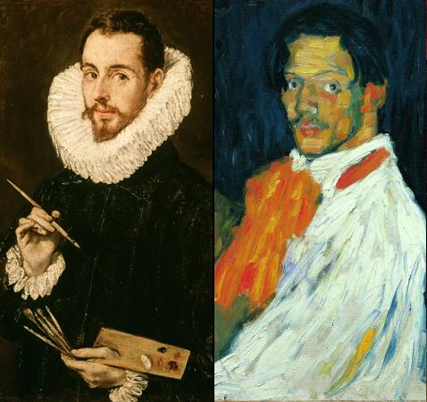 Portrait d'un artiste, (Jorge Manuel Theotokopulus) Doménikos Theotokopoulos dit ''El Greco'' et Yo, Picasso , pablo Picasso (détails)