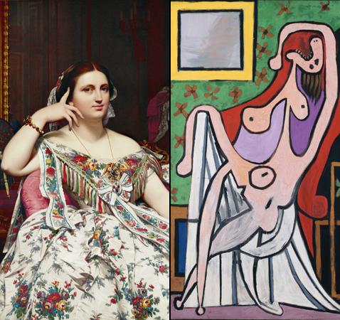 Madame Moitessier, Jean Auguste-Dominique Ingres et Grand nu au fauteuil rouge, Pablo Picasso (détails)