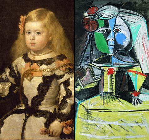 L'infante Marie Marguerite, Diego velàsquez et L'Infante Marguerite, Pablo Picasso (détails)