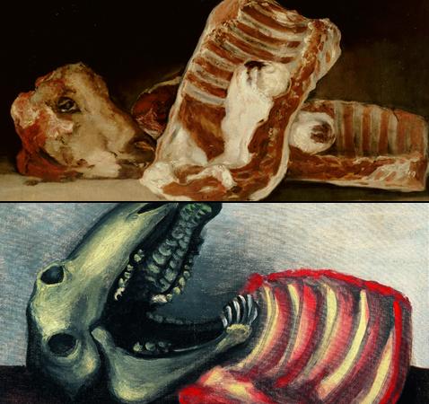 Nature morte à la tête de mouton, Francisco de Goya et Nature morte au crâne de mouton, Pablo Picasso (détails)