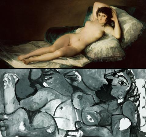 Maja Denuda, Francisco de Goya et Nu couché jouant avec un chat, Pablo Picasso (détails)