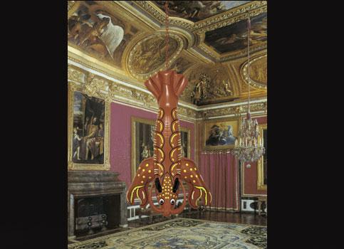 Lobster de Jeff Koons, dans le salon de Mars à Versailles. (DR)