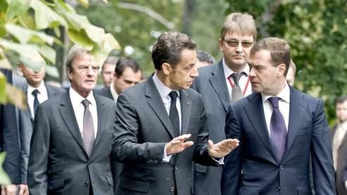 Nicolas Sarkozy et Dmitri Medvedev à Evian. AFP PHOTO / ERIC FEFERBERG