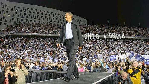 Barack Obama, dimanche, lors d'un meeting, à Cincinnati, dans l'Ohio. (AP)