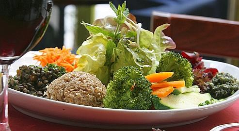 Les succulentes assiettes de légumes au Phyto Bar, qui propose également une belle gamme de plats bio