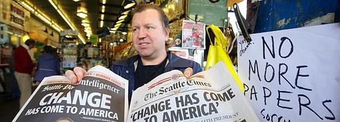 Les journaux pris d'assaut <br />après la victoire d'Obama<br />» class=»photo» /></a></p> <p class=