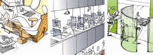 Les bureaux de demain imaginés par des architectes. (Illustrations : Marie-Emilie Sonnois)
