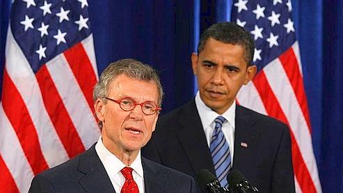 Tom Daschle et Barack Obama, jeudi, à Chicago. (AP)
