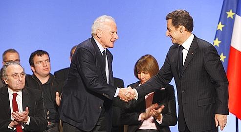 Nicolas Sarkozy, entouré de Marin Karmitz et Christine Albanel, a précisé la mission du Conseil pour la création artistique. (François Bouchon/Le Figaro)
