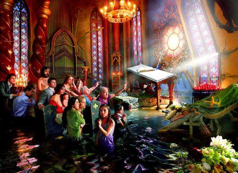 Cette oeuvre intitulée ''Cathedral'', fait partie des derniers travaux de David LaChappelle. Dans la série Déluge, l'artiste dénonce la course à la consommation. ''Cathedral'' dénonce la perte de la spiritualité